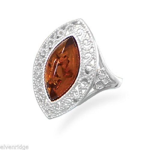Baltic Amber Scroll Design Ring Sterling Silver