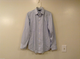 Banana Republic Men's Size M Shirt White Button-Down Black Blue Vertical Stripes