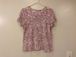 Croft & Barrow Women's Size L T-Shirt Tee Blouse Top Floral Print Brown & Pink