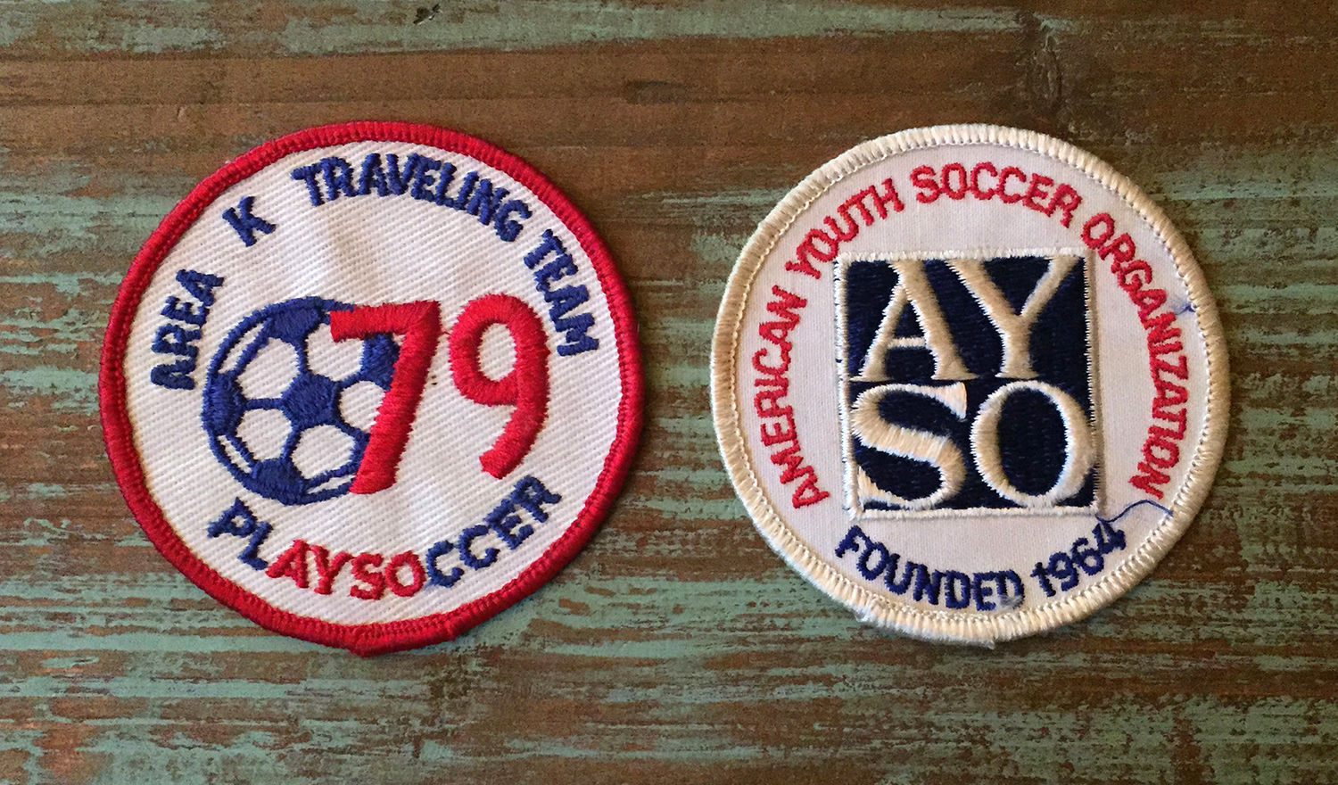 Primary image for 2 Vintage AYSO Embroidered Soccer Patches • Founded 1964 • 79 Traveling Team