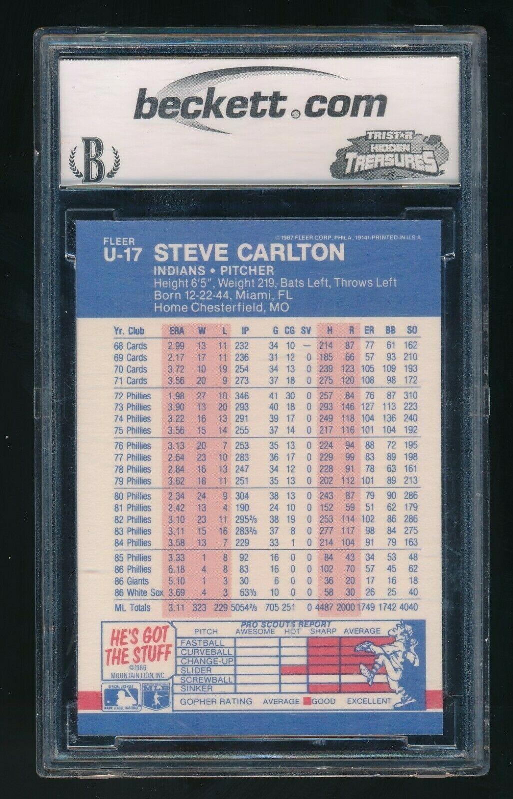 1987 Fleer Update Glossy #U-17 Steve Carlton Cleveland Indians BCCG 10 image 2