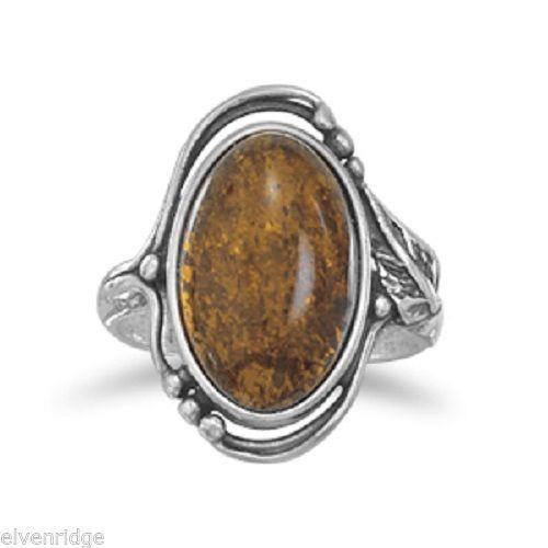 Large Amber Ring with Leaf and Bead Design Sterling Silver