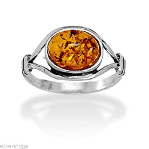 Oxidized Amber Ring Sterling Silver