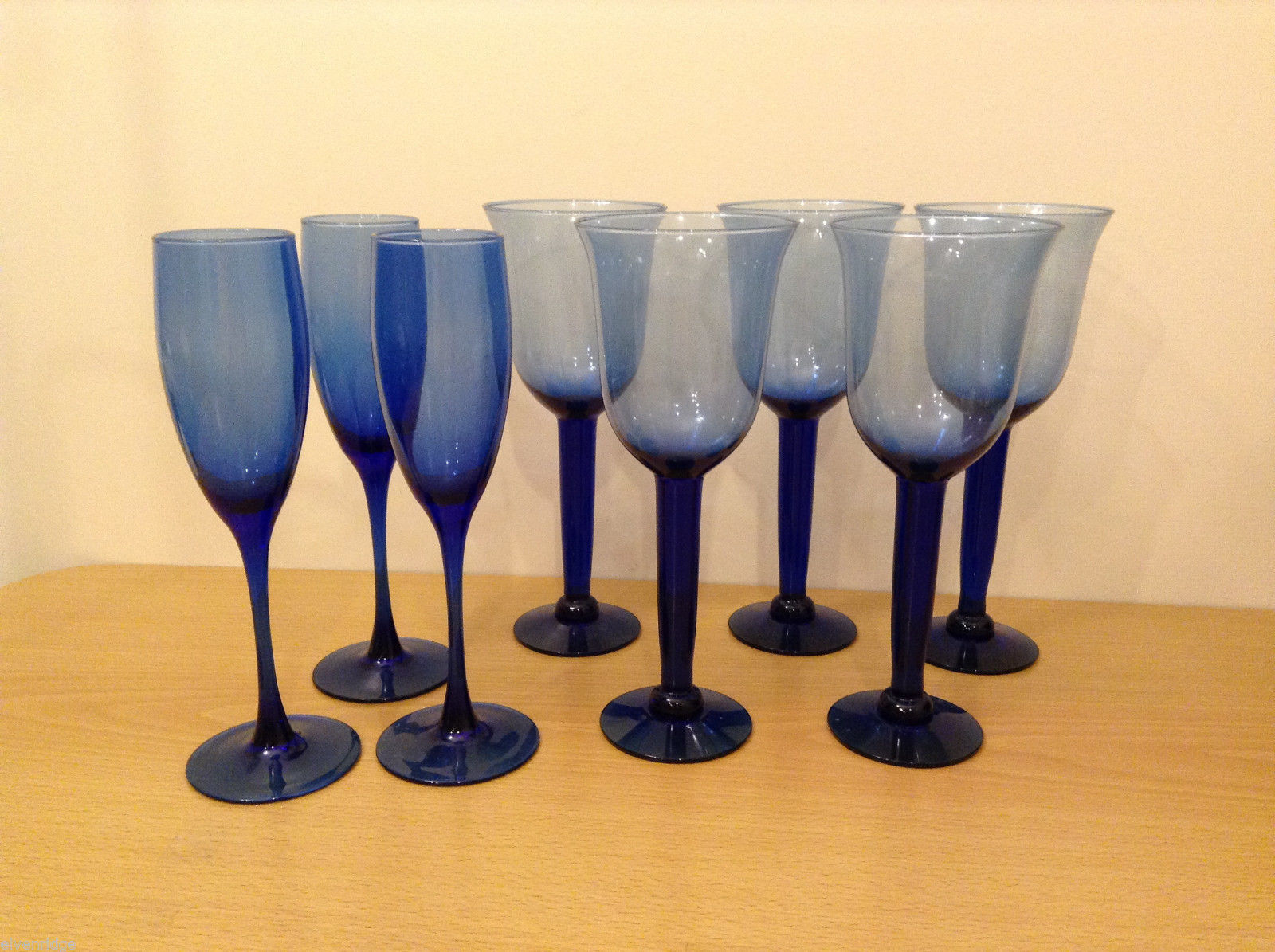 Vintage Cobalt Glassware: 5 Wine Glasses & 3 Champagne Flutes (Set of 8 Total)