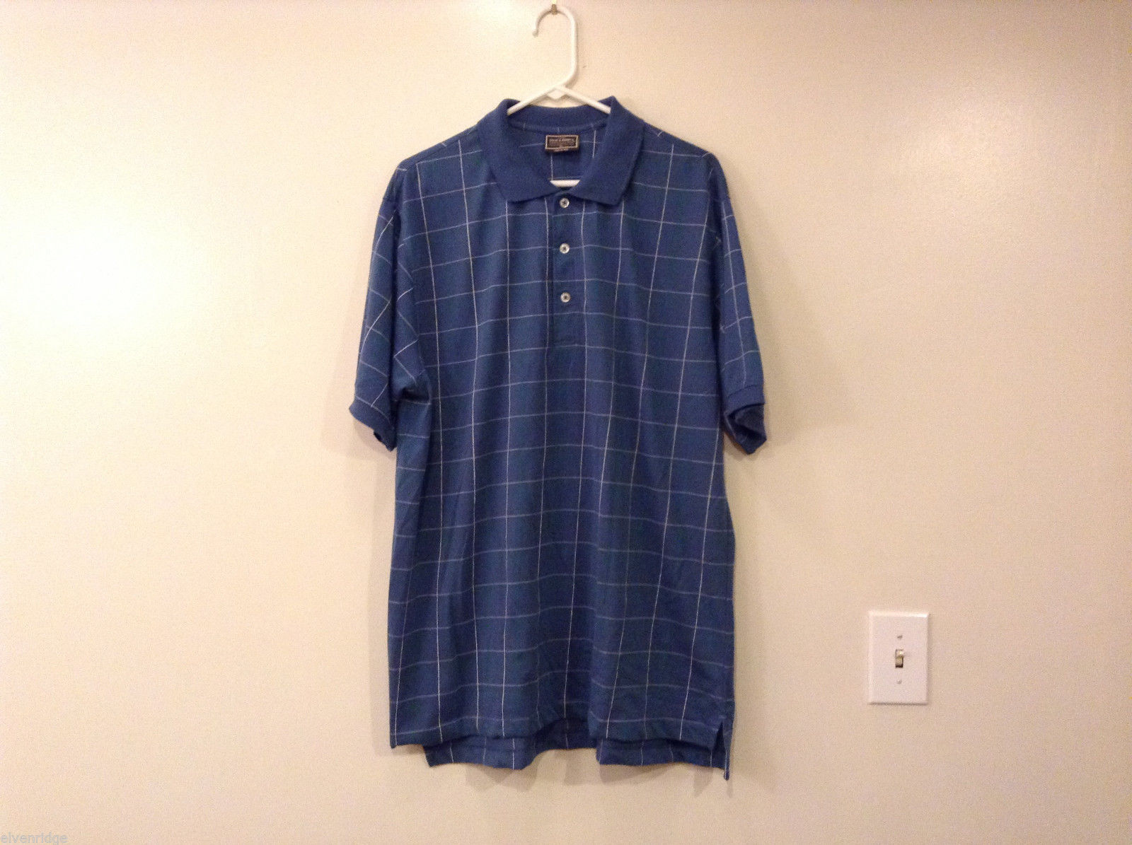 Steve & Barry's Men's Size XL Polo Shirt Casual Blue Plaid w/ 3-Button Placket