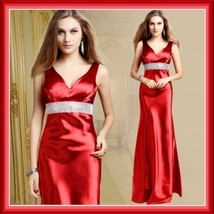 Red Formal Sleeveless Satin Beaded Empire Waist V Neck Sheath Evening Prom Gown