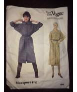 Uncut Bill Blass Loose SHIRT DRESS DOLMAN SLEEVES Vogue 1056 14-16-18 Bl... - $37.36