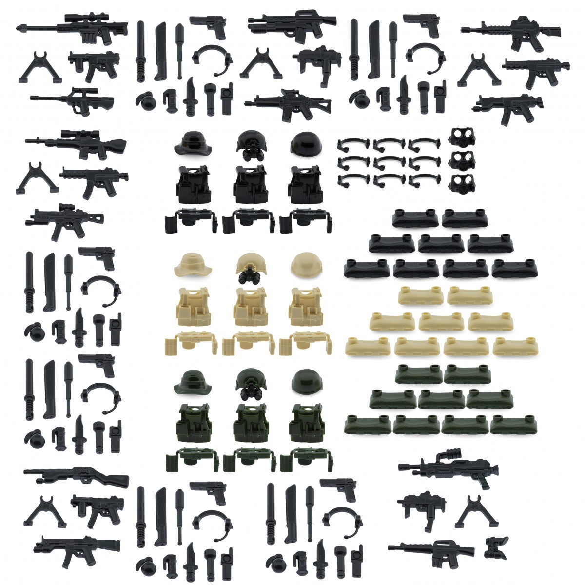 Weapons pack for lego minifigures minifig accessories modern weapons with armor and sandbags set