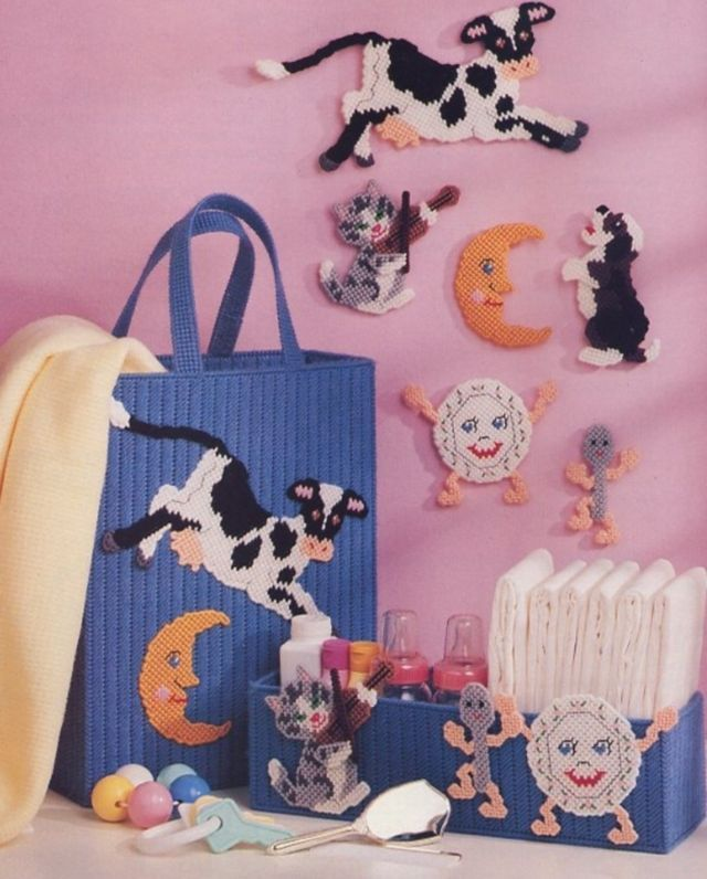 Primary image for Hey Diddle Diddle Baby Tote Mobile Plastic Canvas Pattern Leaflet NEW