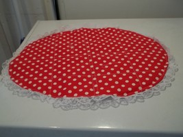 4 Placemats red an white dots ,lace 17x13,4Placemats  red an white 17x13... - $10.88