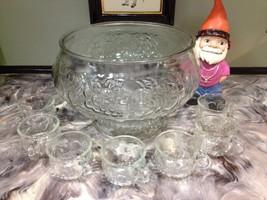 Vintage J EAN Nette Glass Punch Bowl Set Fruit Design - $19.99