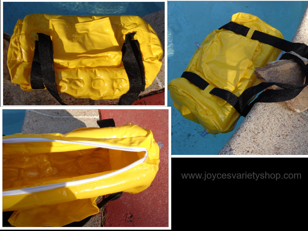 Yellow inflatable duffel bag collage