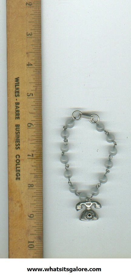 Primary image for kitschy vintage bracelet with telephone charm --  costume jewelry
