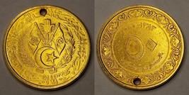 Gold Plated 1964 AH1383 Algerian 50 Centimes World Coin - Algeria - Holed - $11.99