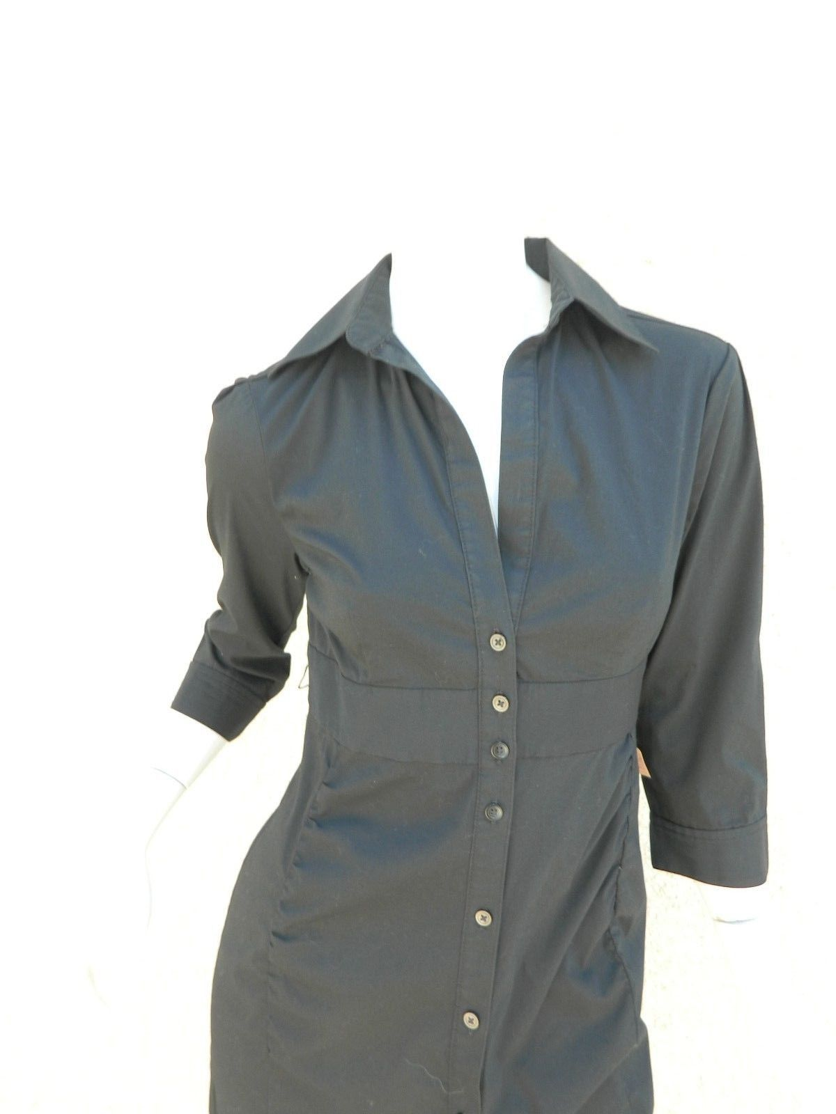 EXPRESS Dress Navy Blue Classic Shirt 3/4 Sleeve Dress Workwear Career Sz 6 image 5
