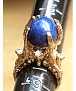 "LOVE EARTH RING Lapis Lazuli(10ct) 3Diamonds (.18ctw) 14K GOLD NUGGET ""B... - $849.00"