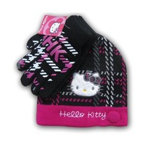 Hello Kitty Girls Skull Cap Logo Beanie Toque Hat Black/Pink Snow Ski New - $9.99