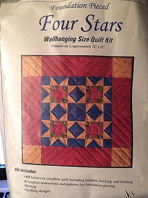 """Rachel's Of Greenfield Four Stars Wall Hanging Quilt Kit 22""""X22"""" - $24.75"""