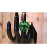 Brilliant Emerald Green Glass Bead Cluster Hand... - $9.99