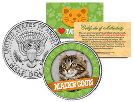 MAINE COON Cat JFK Kennedy Half Dollar US Colorized Coin - $8.95