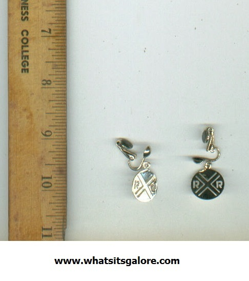 Primary image for kitschy RAILROAD CROSSING clip-on earrings