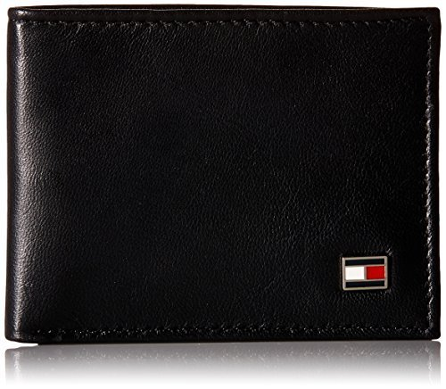 Tommy Hilfiger Men's Genuine Leather Oxford Slimfold Wallet ,Black, One Size