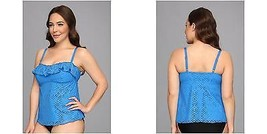 NEW Becca by Rebecca Virtue See it Through Teal Blue Tankini Swim Top Plus 3X - $34.64