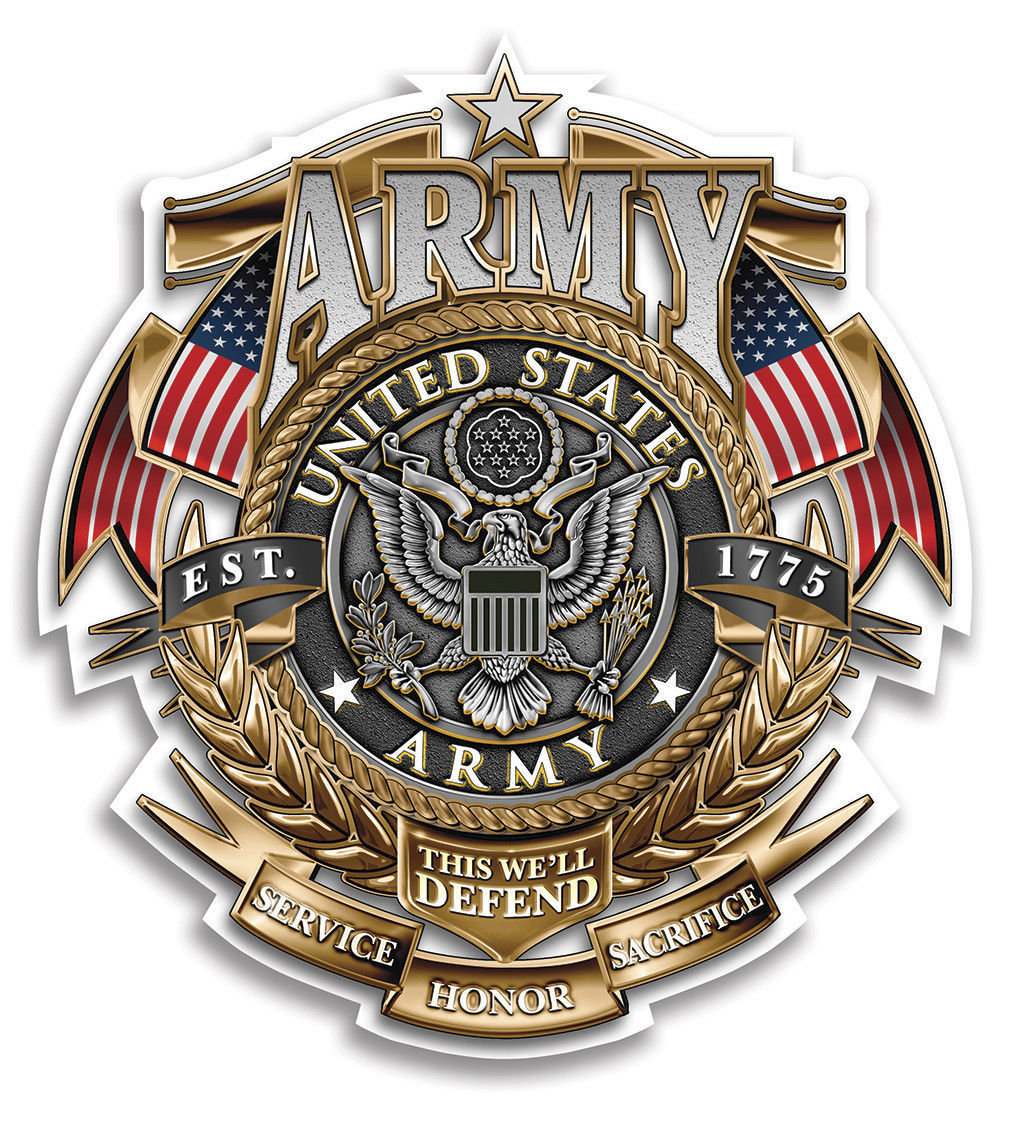 Primary image for US ARMY- GOLD SHIELD OF HONOR- 3M WINDOW DECAL...HIGH QUALITY--AWESOME