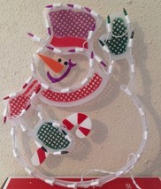 Christmas WAVING SNOWMAN Lighted Window Decoration Indoor / Outdoor Use NEW image 3