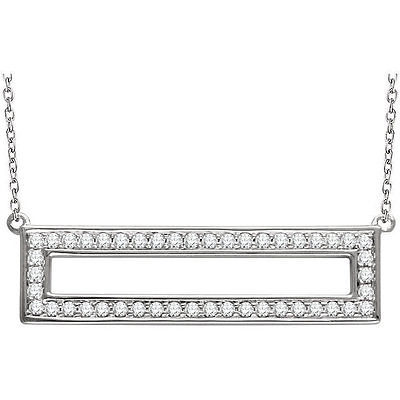 "Primary image for Diamond Rectangle 16-18"" Necklace In 14K White Gold (3/8 ct. tw.)"