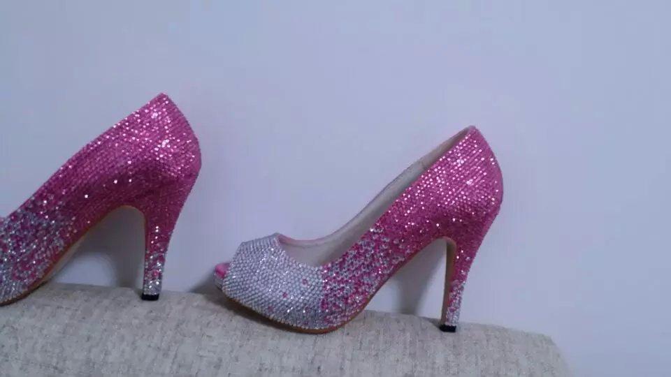 Pink Bling Wedding Shoes Bride Bridal Peep Toe Shoes Pink Fading to AB Swarovski