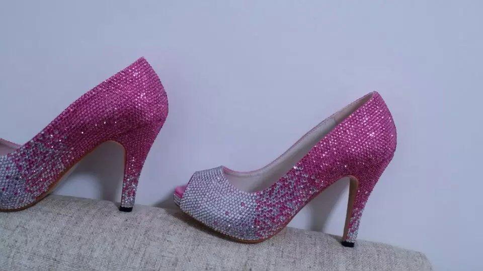 Pink Bling Wedding Shoes Bride Bridal Peep Toe Shoes Pink Fading to AB Swarovski image 2