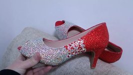 Bridal Shoes Sparkly Swarovski Rhinestone Red & AB Crystal Glitter Prom ... - $125.00