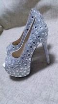 Luxury Party Shoes Clean Swarovski Crystal High Platform Peep Toe Heels ... - $145.00