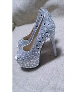Luxury Party Shoes Clean Swarovski Crystal High Platform Peep Toe Heels ... - $145.00