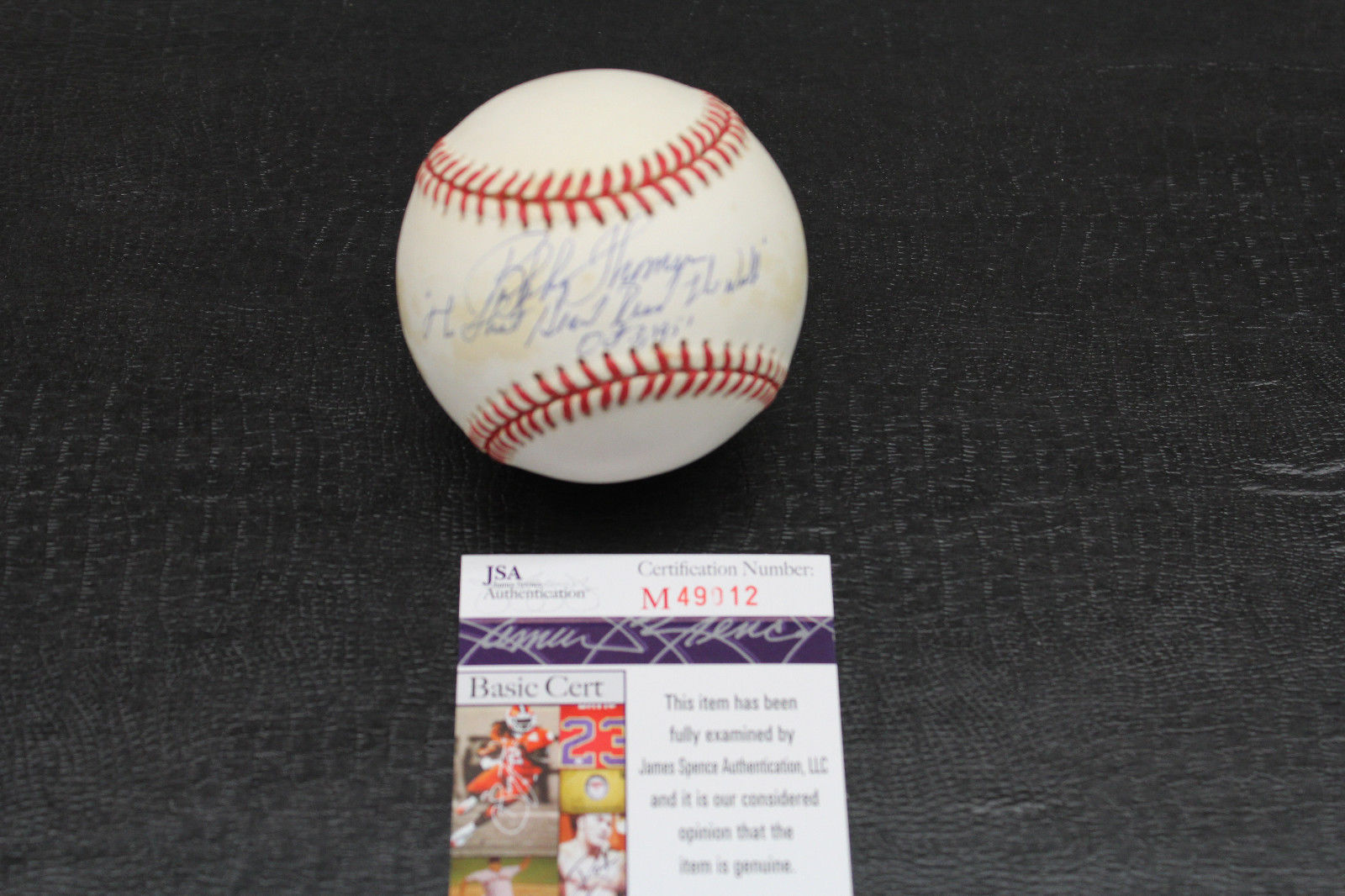 Primary image for BOBBY THOMSON Signed ONL Baseball INSCRIBED SHOT HEARD ROUND THE WORLD JSA COA