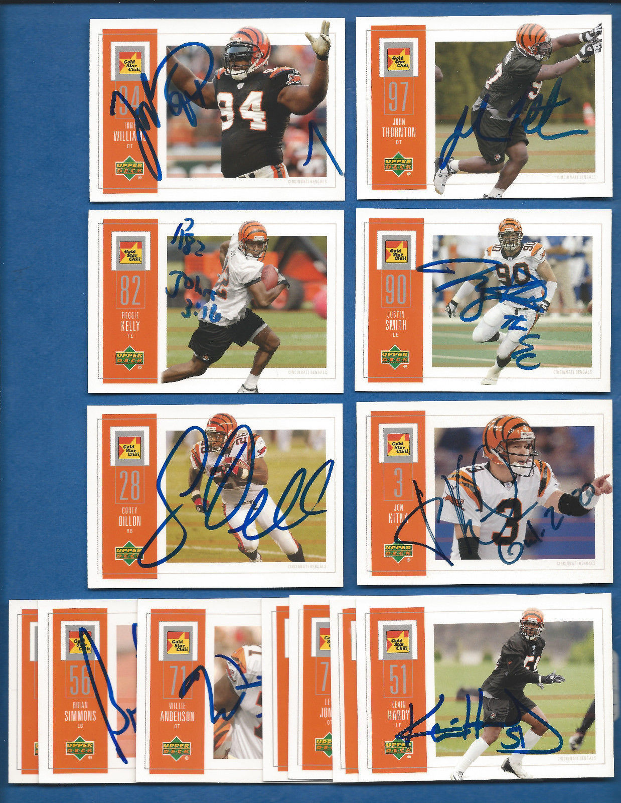 Primary image for 2003 UD GOLD STAR CHILI Cincinnati Bengals AUTOGRAPHED LOT 13 Kitna Dillon Smith