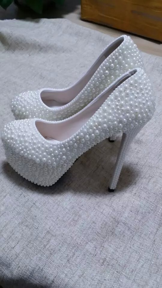 Primary image for High Platform Heels Bridal Prom Wedding Bridesmaid ivory Pearl Shoes Closed Toe