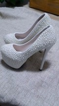 High Platform Heels Bridal Prom Wedding Bridesmaid ivory Pearl Shoes Closed Toe - $125.00