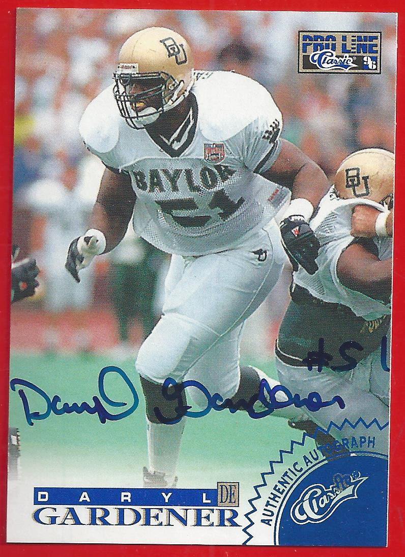 Primary image for 1996 Pro Line Auto Daryl Gardener AUTO Dolphins Baylor Bears