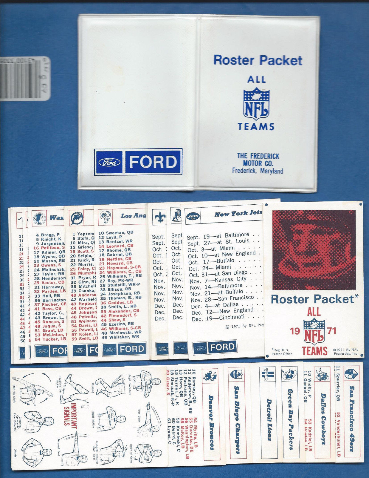 Primary image for 1971 NFL Team Roster /Schedule Packet All 26 teams Ford Moter Patriots Steelers