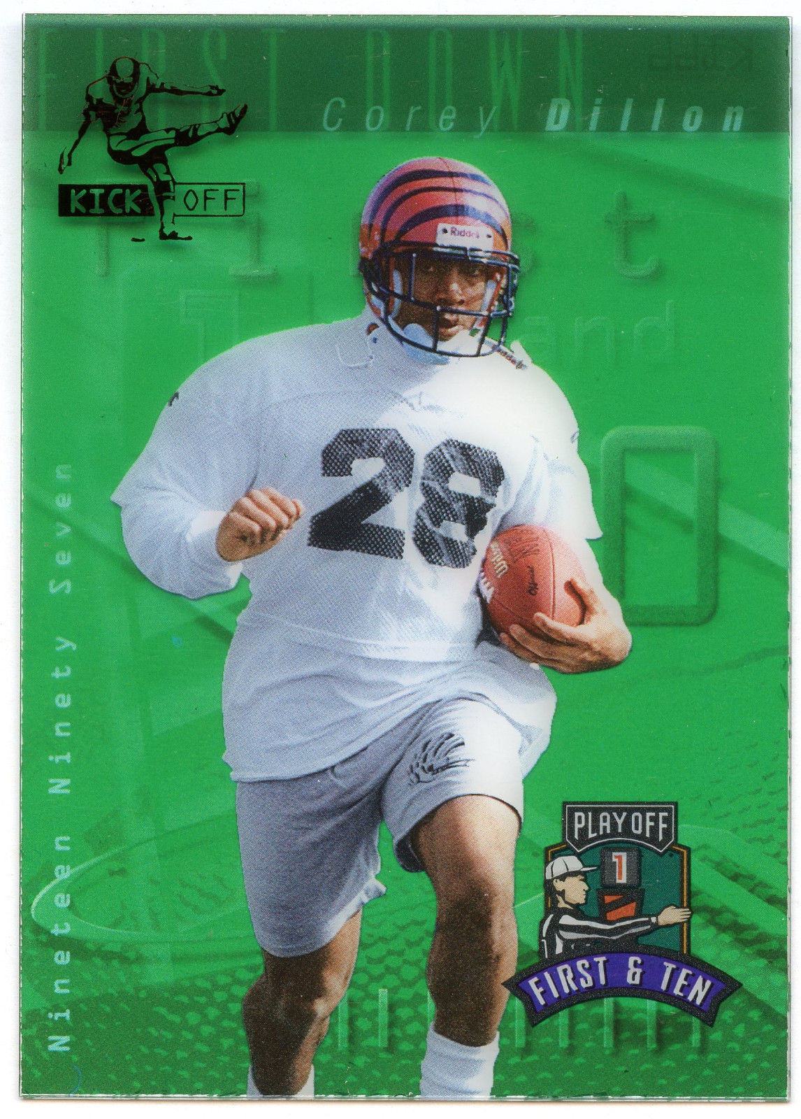 Primary image for 1997 Playoff First & Ten KICK OFF GREEN Parallel Corey Dillion #K166 Bengals