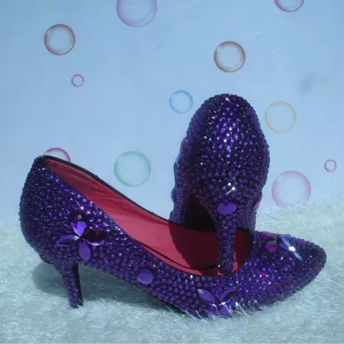 Primary image for Purple Rhinestone Wedding Shoe Closed Toe Classic Kitten Bridal Heels Prom Shoes