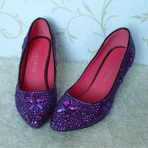 Purple Rhinestone Wedding Shoe Closed Toe Classic Kitten Bridal Heels Prom Shoes