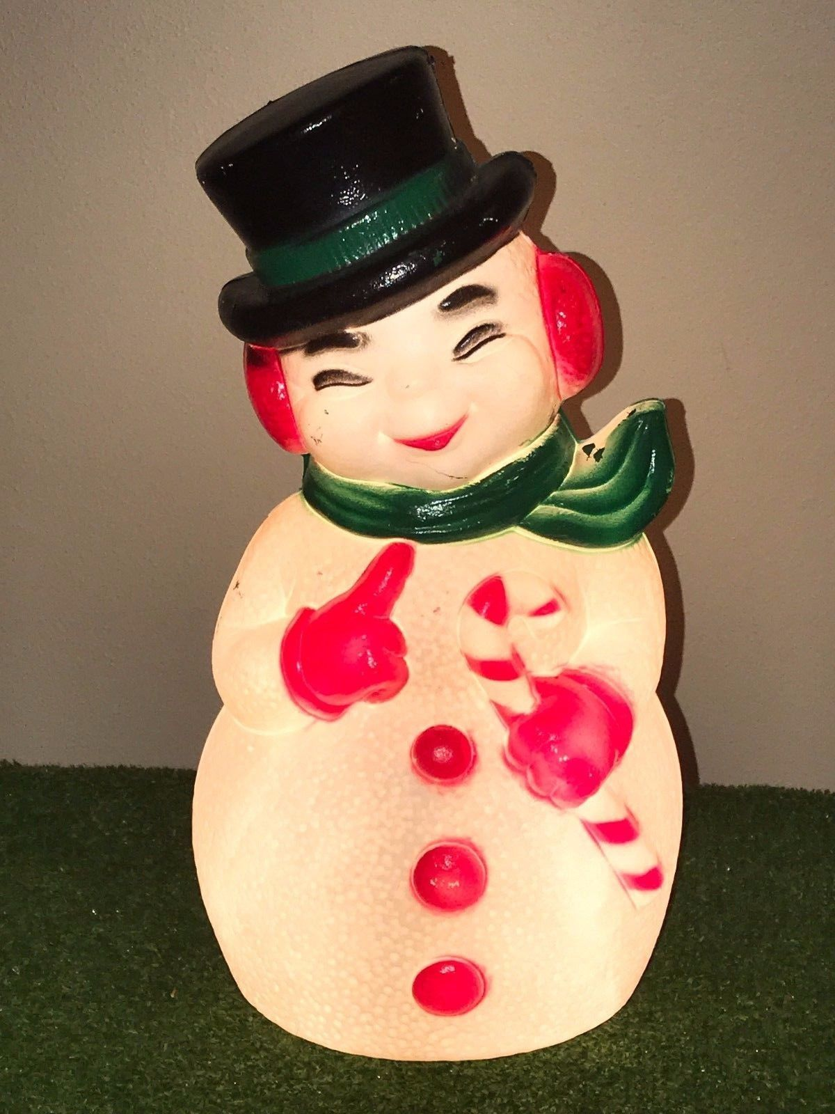 "Primary image for Vtg Christmas 13"" Lighted Blow Mold Snowman with Candy Cane Table Decoration #2"