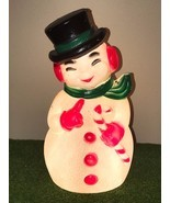 "Vtg Christmas 13"" Lighted Blow Mold Snowman with Candy Cane Table Decora... - £30.13 GBP"