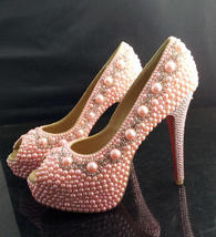 Baby Pink Wedding Shoes light pink pearl beads Peep Toe Bridal Shoes Prom shoes - $145.00