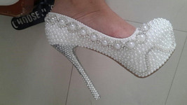 High Heels White Pearl Bridal Shoes Pumps Luxury Platform Wedding Party Shoes - $145.00