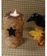 "New 5"" Primitive Grubby Flameless Flicker Pillar Candle - Handmade - $9.99"
