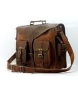 Men's Genuine Brown Vintage Soft Leather Messenger Shoulder Laptop Brief... - $53.25